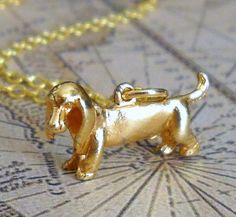 Little Ru Dachshund Charm Necklace by lucindascharms on Etsy, $13.00