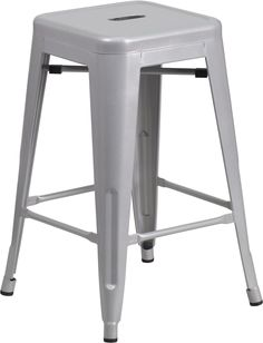 24'' High Backless Silver Metal Indoor-Outdoor Counter Height Stool with Square Seat, CH-31320-24-SIL-GG by Flash Furniture | BizChair.com
