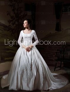 Princess Style Wedding Gown --Ball Gown Long Sleeves Cathedral Train Luxury Wedding Dress With Beaded Appliques Wedding Dress 2013, Modest Wedding Gowns, Cheap Wedding Dresses Online, Wedding Dress Train, Princess Wedding Dresses, Bridal Dresses, Bridesmaid Dresses, Gown Wedding, Lace Wedding