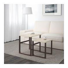 IKEA - РИССНА, Комплект столов, 2 шт, Можно поставить отдельно или ставить один под другой для экономии места.Блестящая поверхность отражает свет.Для изготовления ножек стола использован массив древесины – прочный натуральный материал.