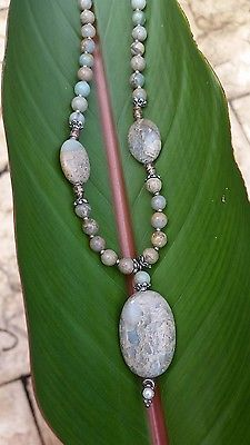 Aqua Terra Jasper pendant necklace & earring set