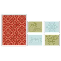 This is the one!! Sizzix Textured Impressions Embossing Folders 5PK - Santa Baby Set $10.99