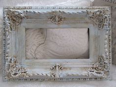 Large ornate frame blue and cream distressed French Nordic inspired wide deep wood gesso shabby cottage chic home decor anita spero design
