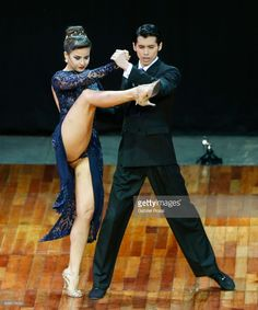 Agostina Tarchini and Axel Arakaki of Argentine dance during the final round of the Tango Stage competition as part of the Buenos Aires International Tango Festival and Championship 2017 at Luna Park on August 23, 2017 in Buenos Aires, Argentina. (Photo by Gabriel Rossi/LatinContent/Getty Images)