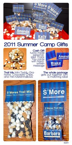 Camp Counselor/Teacher Gifts. $$ is in the Name cards.