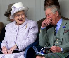 Queen Elizabeth shares a laugh with her son Prince Charles