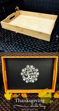 DIY Thanksgiving Chalkboard Tray– Host Gift from Weekend Craft Give Thanks