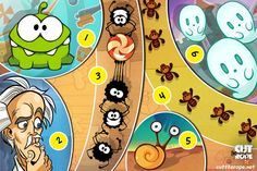 Cut the Rope is filled with sneaky spiders, a wacky professor, slimy snails, buzzing bees, and, of course, Om Nom! Which characters are your favorites? Comment below. #cuttherope #omnom #cute #green #little #monster #love #yummy #candy #sweets #playing #play #mobile #game #games #phone #fun #game #happy #funny #face #eyes #smile #nice http://cuttherope.net