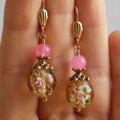 Pink Jade Stone Yellow Amber Lampwork flower Gold Plated Leverback Earrings #Handmade #DropDangle