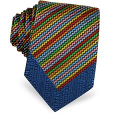 Missoni Micro Zig Zag Woven Silk Narrow Tie (€105) ❤ liked on Polyvore featuring men's fashion, men's accessories, men's neckwear, ties and blue