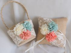 Rustic Wedding Pillow and Basket Set - Ring Bearer Pillow - Flower Basket - Mint and Peach