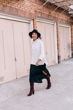 How to layer - chunky sweater, OTK boots and a slip midi dress. #OOTD