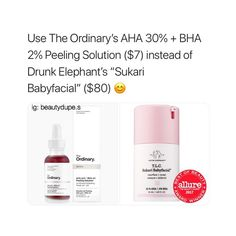 Would you rather save or splurge? Brazy that these are pretty much the same thing TO just has 5% more AHA which might even b better bc the effect would be stronger Zoom in and you can see the Ordinary has 30% aha 2% BHA and DE has 25% aha & 2% bha!!! Personally I think TO IS SOOO GREAT!!! Like thats a skincare brand Ill stand by (: they work so well and dont have a bunch of crap in their products definitely check them out affordable & amazing! TO is at Sephora #Skincare #Makeup #Dupe #Dupes…
