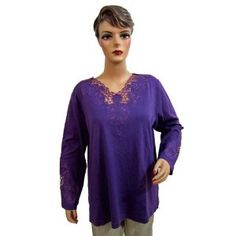 Royal Blue Designer High Fashion Embroidered Tunic Top for Womens Large Size (Apparel)