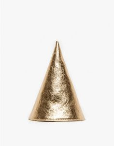 A metallic cone party hat from Otaat in premium leather. Crafted from a single piece of cowhide leather and features an interior headband and grosgrain ribbon ties.   	•	Metallic cone party hat 	•	Interior headband 	•	Grosgrain ribbon ties 	•	100% co