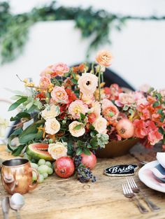 Wedding inspiration table setting: http://www.stylemepretty.com/2017/03/03/the-ultimate-inspiration-for-a-colorful-boho-style-wedding/ Photography: Ashley Slater - http://www.ashleyslaterphotography.com/