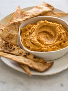 Savory Pumpkin Hummus with Baked Pita Strips