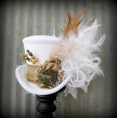 The White Rabbit in Gold Mini Top Hat, Alice in Wonderland Mini Top Hat, Tea Party Hat, Steampunk Hat, Gear Hat, Mad Hatter Hat, Bridal