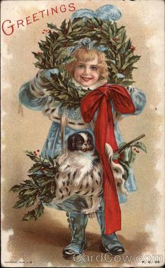 Child with Christmas Greenery and a Small Dog Children...~~I've separated my Vintage Card Board into 2 - the other being more mid-century. PRT