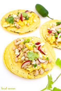 Cheddar Scramble with White Bean, Radish, + Mango Tacos | LocalSavour.com