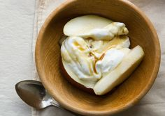 yogurt and pear.