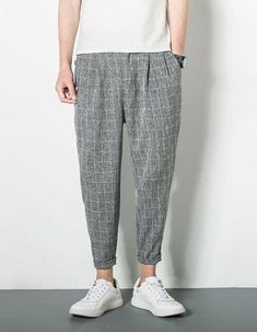 Collections : MOO Drop Crotch Tapered Check Trousers Sirwal in 4 colours Trendy Mens Fashion, Indian Men Fashion, Suit Fashion, Fashion Pants, Harem Pants Men, Baggy Trousers, Man Dress Design, Streetwear, Baggy Clothes