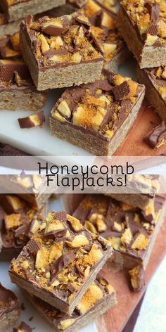 A classic traybake, with a sweet chocolatey twist - Honeycomb Flapjacks! Tray Bake Recipes, Brownie Recipes, Chocolate Recipes, Baking Recipes, Cake Recipes, Dessert Recipes, Dessert Bars, Baking Ideas, Bread Recipes