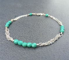 Turquoise and Silver Chain Stacking Bracelet