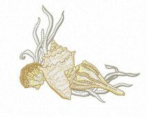 Seashells Machine Embroidery Design - Conch Shells and Coral - Instant Digital Download