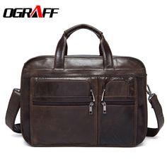 OGRAFF Genuine Leather bag Men bags Business Laptop Tote Briefcases Crossbody bags Shoulder Handbag Men's Messenger Bag 2017 #Affiliate