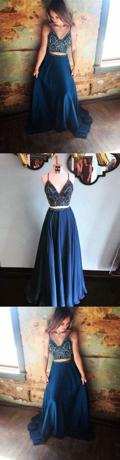 blue two pieces long prom dress, blue evening dress, formal dress M1799#prom #promdress #promdresses #longpromdress #2018newfashion #newstyle #promgown #promgowns #formaldress #eveningdress #eveninggown #2019newpromdress #partydress #meetbeauty #aline #twopiece #blue #vneck