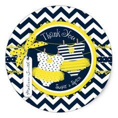 Twin Girls Tutus Chevron Print Thank You Classic Round Sticker