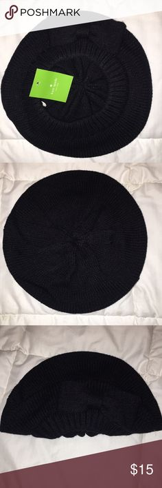Kate Spade Gathered Bow Beret-NWT NWT, Black, brand new kate spade Accessories Hats