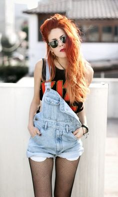 Rock tee and overalls!!! Love!!!