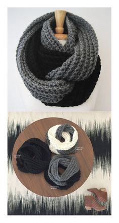 CROCHET INFINITY SCARF, Two Tone, Knit Eternity Scarf, Chunky Ribbed Scarf, Double Wrap Scarf, Winter - Charcoal Gray and Black  https://www.etsy.com/listing/197068476/crochet-infinity-scarf-two-tone-knit?ref=shop_home_active_15