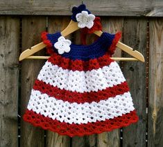 10 FREE Patriotic Crochet Patterns Great for Fourth of July — Megmade with Love Crochet Toddler, Baby Girl Crochet, Crochet Bebe, Crochet Baby Clothes, Crochet For Kids, Crochet Girls Dress Pattern, Crochet Patterns, Crochet Dresses, Crochet Crafts