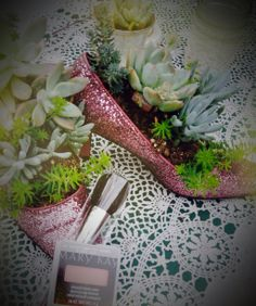 """As a Mary Kay Beauty Consultant I love staging beautiful things together. These fun sparkly pumps I filled with succulents and posed them with my favorite Mary Kay blush """"Shy"""" $12 and check brush $14. Visit my website for other fun colors www.marykay.com/carmentgray"""