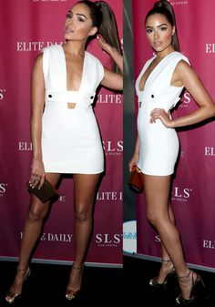 Olivia showed off her toned legs in a white cocktail dress