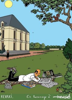 Nestor on his day off Vintage Comics, Vintage Posters, Tin Tin Cartoon, Comic Book Drawing, Herge Tintin, Comic Art, Comic Books, Ligne Claire, Classic Comics