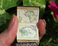 Miniature 1/12th scale atlas: Handmade leather miniature book of antique maps and cartography