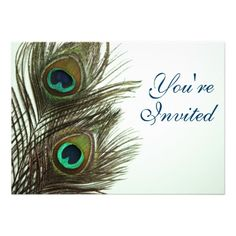 Peacock Feather Invitaiton Personalized Invite