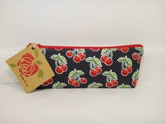 Wild Cherries Pencil Case Pencil Pouch Makeup Bag by BallyandLis