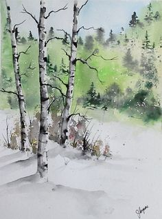 Original Watercolor Painting Maine Landscape by pinetreeart