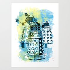 Dalek Watercolor Mixed Media Digital Painting Art Print by Juliet van Ree - $15.00