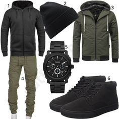 Schwarz-Khaki Street-Style mit Hoodie und Jogg-Chino Street style for men with black solid hoodie, knit cap, navahoo transition jacket in khaki, amaci & sons jogging chino, black fossil watch and timberland shoes. Look Fashion, Mens Fashion, Fashion Outfits, Stylish Men, Men Casual, Herren Style, Neue Outfits, Herren Outfit, Street Style Trends