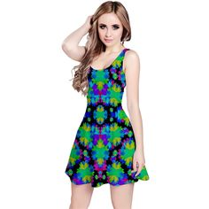 Colorful Abstract Print Reversible Sleeveless Dress by #dflcprints