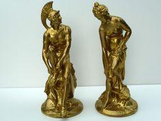 2 antike Metall Figuren, Historismus, Mars und Venus, um 1880