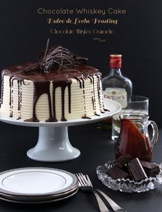 Layers of Whiskey Chocolate Cake, Whiskey Dulce de Leche Frosting and Whiskey Ganache. from #DietersDownfall