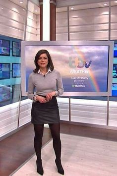 Lucy Verasamy high waisted black leather miniskirt black hose and heels Itv Weather Girl, Weather Girl Lucy, Hottest Weather Girls, Pantyhose Outfits, Black Pantyhose, Black Tights, Sexy Outfits, Skirt Outfits, Sexy Older Women