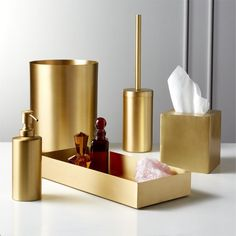 Hand made, real brass bath accessories add polish to your daily routine. Minimal design and brushed finish keeps it everyday. Modern Bathroom Accessories, Bath Accessories, Gold Home Accessories, Tissue Box Covers, Tissue Boxes, Brass Bathroom, Bathroom Sets, Rental Bathroom, Bathroom Stuff